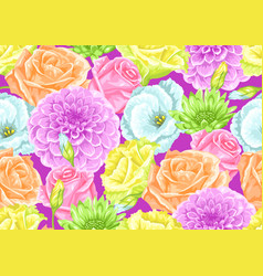 seamless pattern with decorative delicate flowers vector image