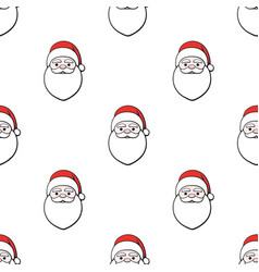 seamless pattern with heads santa claus vector image