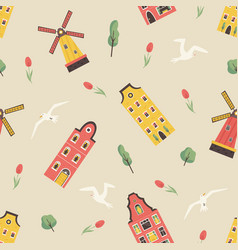 seamless pattern with old dutch buildings windmill vector image