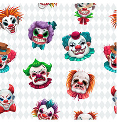 seamless pattern with scary clown faces on the vector image