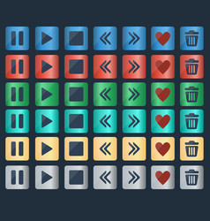 set of glossy buttons icons for web design vector image