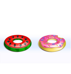 Set of inflatable flamingo rubber rings vector