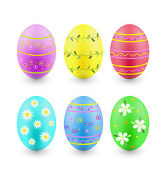 set of painted easter eggs isolated on white vector image