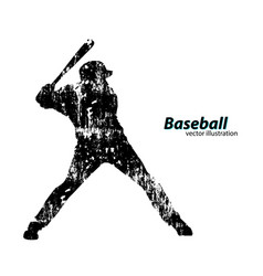 silhouette a baseball player vector image