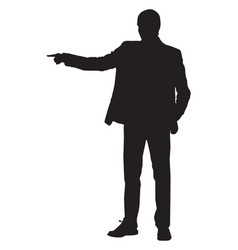 silhouette a man pointing with his finger on vector image