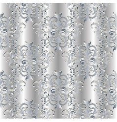 silver 3d baroque seamless pattern vector image