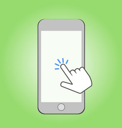 Smartphone and click cursor finger sign click vector