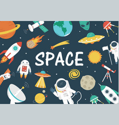 Space objects background vector