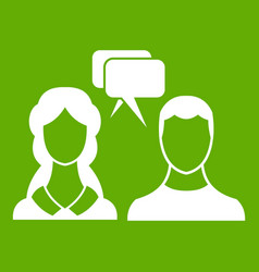 speech bubbles with two faces icon green vector image