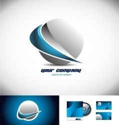 Sphere 3d logo icon design swoosh blue vector