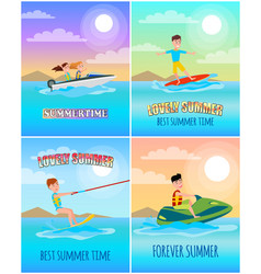 Summertime banners collection vector