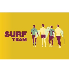Surf team cover design on center vector image