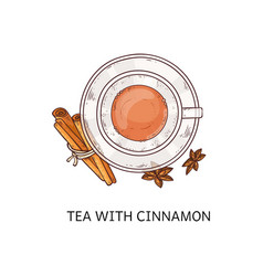 tea with cinnamon - hot winter drink in glass cup vector image