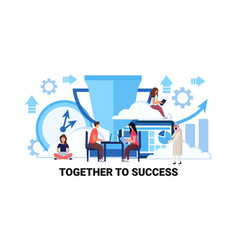 teamwork strategy together to success successful vector image
