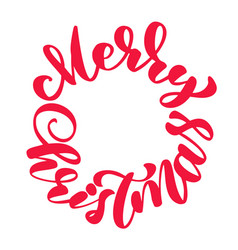 texts merry christmas hand written in a circle vector image