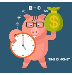 Time Is Money - banking pig vector