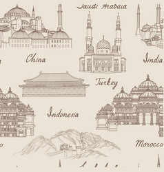 Travel asia background world famous landmark vector