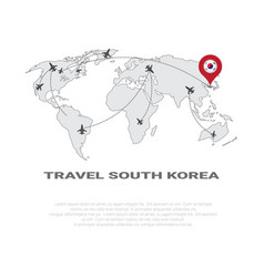 Travel to south korea poster world map background vector