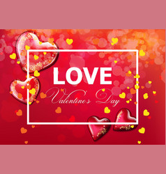 valentine day card with hearts realistic vector image