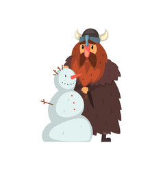 Viking making a snowman comic medieval cartoon vector