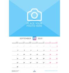 Wall calendar for september 2019 design print vector