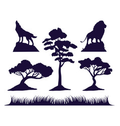 Wild wolf and lion with trees fauna silhouettes vector