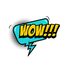 wow comic style phrase with speech bubble vector image