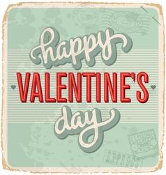 hand-lettered vintage Valentines card vector image vector image