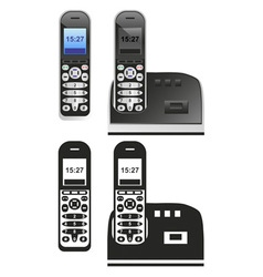 handset and phone on white vector image vector image