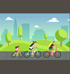 happy family on bicycles healthy summer cycling vector image vector image