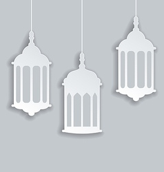 Paper Arabic lamp with shadow for Ramadan Kareem vector image vector image