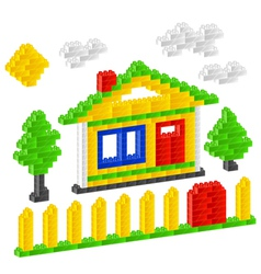 plastic construction block house vector image vector image