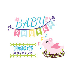 baby shower badge happy mothers day logotype pink vector image vector image