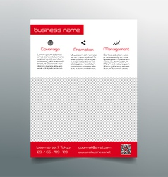 Business flyer design - simple red minimalistic vector image vector image