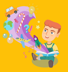little kid reading a book with objects flying out vector image