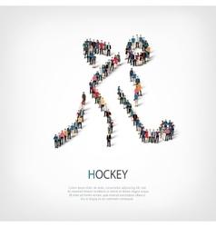 people sports hockey vector image
