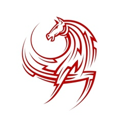 Powerful tribal red horse vector image vector image