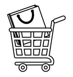 shopping cart online bag gift outline vector image vector image