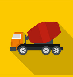 truck concrete mixer icon flat style vector image vector image