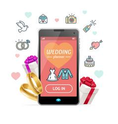 wedding planner concept mobile phone app vector image