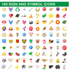 100 sign and symbol icons set cartoon style vector image vector image