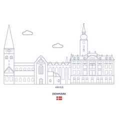 arhus city skyline vector image vector image
