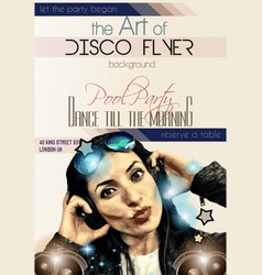 Attractive Club Disco Flyer with a Girl Dj vector image