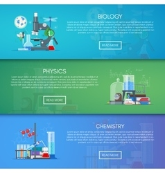 Biology chemistry and physics banners vector