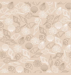 brown line seamless pattern of seashells vector image vector image