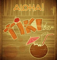 Retro Design Tiki Bar Menu on wooden background vector image vector image