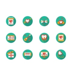 Round flat color love courtship icons vector image
