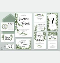 Wedding invitation invite card design with willow vector