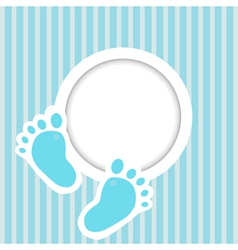 Blue card with baby feet vector image