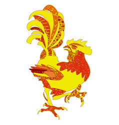 colored hand drawn rooster zentangle vector image vector image